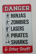 Zombies Ninjas Danger Warning Sign Video Game Walking Dead TV