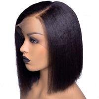 13x6 Yaki Straight Lace Front Wig Virgin Malaysian Human Hair Bob Wigs Deep Part