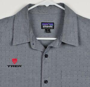 Patagonia Men's Sz Small Organic Cotton Polyester Blend Trek Bicycles Gray Shirt