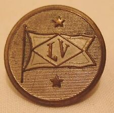Old Metal Brass clothing Button LV initials in Flag - Lehigh Valley PA