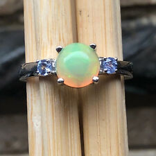 Genuine Ethiopian Opal Cabochan, Tanzanite 925 Solid Sterling Silver Ring 8