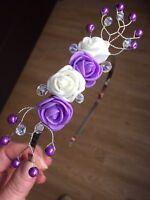 Handmade - Lilac / purple and Ivory Flower Fascinator, side tiara, headband
