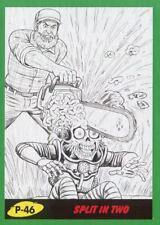 Mars Attacks The Revenge Green Pencil Art Base Card P-46 Split in Two