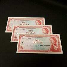 East Caribbean $1 Dollar P-13 - 3 Consecutive Uncirculated Notes