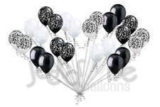 24 pc Elegant Damask Black White Clear Latex Balloons Party Decoration Wedding