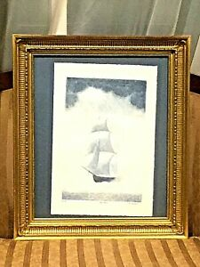 BEAUTIFUL VNTAGE LIMITED 246/200 BLUE ETCHING SAILBOAT SIGNED w/VERY NICE FRAME