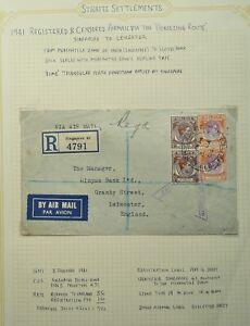 "MALAYA 3 JAN 1941 REG AIRMAIL COVER VIA ""HORSESHOE ROUTE"" - SINGAPORE TO ENGLAND"