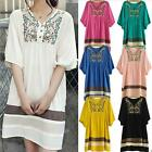 2014 Women Lady Embroidered Maternity Loose Dress Pregnant Short Sleeve Dress