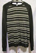NWT Club Room Mens Gray Crew Neck Striped Merino Wool Sweater ~ Size XL ~ $70