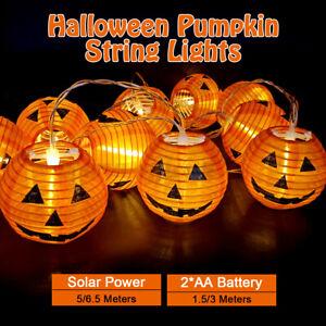 LED Halloween Pumpkin String Lights Solar/Battery Power Party Decor
