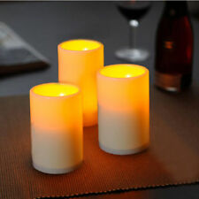 3 x Flickering Flame Resin Pillar LED Candle Light w/ timer For Wedding Party US