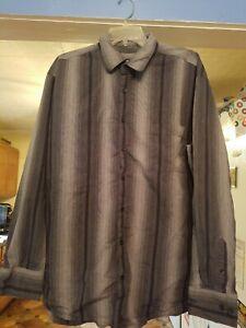 CLAIBORNE MENS GRAY STRIPED DRESS SHIRT SIZE 2XLT  LONG SLEEVE POCKET BIG TALL