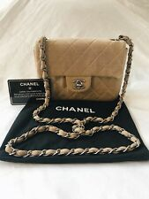 CHANEL Vintage Mini Flap Square Bag Crossbody Quilted Cotton Beige Silver Chain