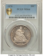 1876 LIBERTY SEATED HALF PCGS-64 - NICE AND ORIGINAL - rxux