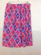 Vintage Skirt Bright Colors XS S M Pink Turquoise Orange Diamond Pattern
