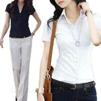 VANCY White shirt Womens smart casual blouse Ladies short sleeve Career Top Size