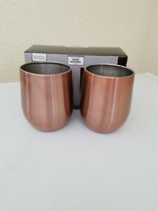Set of 2 Copper Stemless Wine Glasses, Pair 2 pc Dining / New in Box 18oz