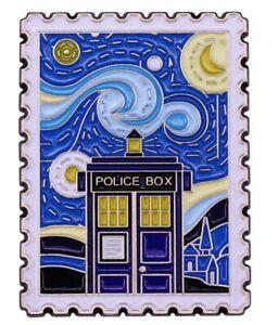 VanGogh Starry Night Doctor Who Tardis Police Box Postage Stamp Enamel Pin Badge