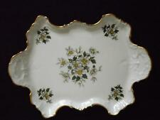 Chamart Limoge France Handled Embossed Floral Tray 22k Gold Trim