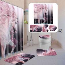 4Pcs Unicorn Bathroom Set Non-Slip Rug + Toilet Cover+Bath Mat +Shower  ,/ ◆. d