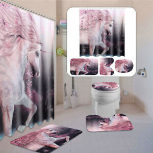 4Pcs Unicorn Bathroom Set Non-Slip Rug + Toilet Cover+Bath Mat +Shower  ,/ f