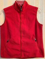 Women's Lands' End Red Full-Zip Fleece Vest High-Low Hem Side Pockets Small 6-8