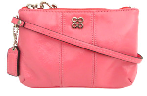 New NWT Gift Boxed Coach Bright Vivid Pink Patent Leather Wristlet Wallet RARE