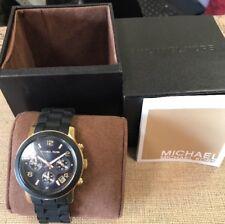 Michael Kors Women's MK 5191 Runway Black/Gold Stainless Steel Chronograph Watch