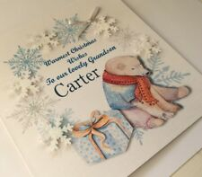 Personalised Handmade Christmas Card Bear,3D, Grandson,Nephew,Name, 1st Xmas,etc