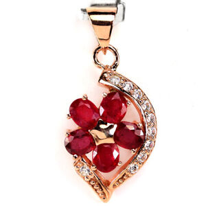 GENUINE AAA BLOOD RED RUBY OVAL & WHITE CZ STERLING 925 SILVER FLOWER PENDANT