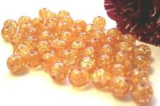 0,05€/Stk 50 Glas-Crash-Perlen Crackle 8mm hellorange gebrochen Beads Neu