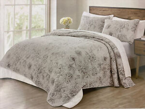 NEW Tahari Home Gray White Floral King Quilt Shams 3PC Set