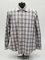 Zegna Sport Men's Shirt Size Large Blue Tan Check Plaid