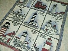 VINTAGE East Coast Lighthouses Tapestry Throw 42 x 50 Super SOFT