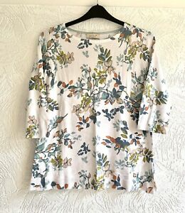 IVORY MIX FLORAL FINE KNIT JUMPER PER UNA 3/4 Sleeve 16 Marks And Spencer M&S