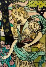 Peinture sur verre dans le goût Art nouveau signée ?