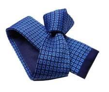 Cravatta tricot blu con motivi azzurri celesti cravatte in maglia uomo