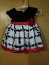 Youngland Baby Girl Black & White dress Trimmed in Red Size 6/9 Mo