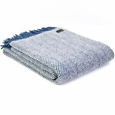 TWEEDMILL KNEE RUG 100% Wool Sofa Bed Throw Blanket HERRINGBONE INK SILVER GREY