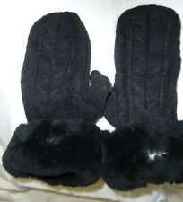 Australia Luxe Collective Gloves Shearling Trim Cable Knit Black M