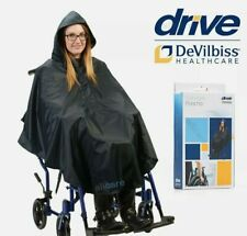 Wheelchair Waterproof Poncho. Wet Weather Slip over Protection Cover with Hood