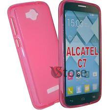 Cover Custodia Per Alcatel C7 One Touch Pop 7040D Gel Fucsia + Pellicola