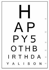A4 PERSONALISED EYE TEST CHART CAKE TOPPER, ANY MESSAGE, ICING SHEET, BIRTHDAY