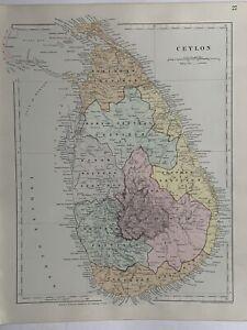 1882 Ceylon, Sri Lanka Hand Coloured Original Antique Map by Edward Stanford