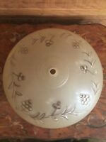 Vintage Mid Century Beige to Clear Glass Ceiling Light Shade Grape Pattern