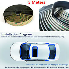 5M Waterproof Rubber Sealing Strips Trim For Car Front Rear Windshield Sunroof