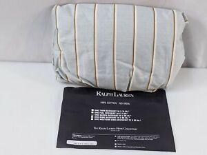 """Ralph Lauren Queen Bedskirt English Isle Blue Brown Stripes 18"""" Irregular NEW"""