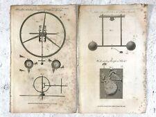2 Antique Technical Drawings of Clock Parts / Mechanisms Escapements ect.