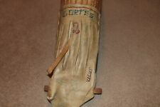Vintage Jai Alai Cesta/Sesta Glove Wicker Rattan Basket Leather Scoop, signed