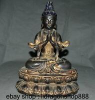 "14 ""Bouddhisme Chinois ancien Bronze Kwan-yin Guan Yin Bouddha Bodhisattva"